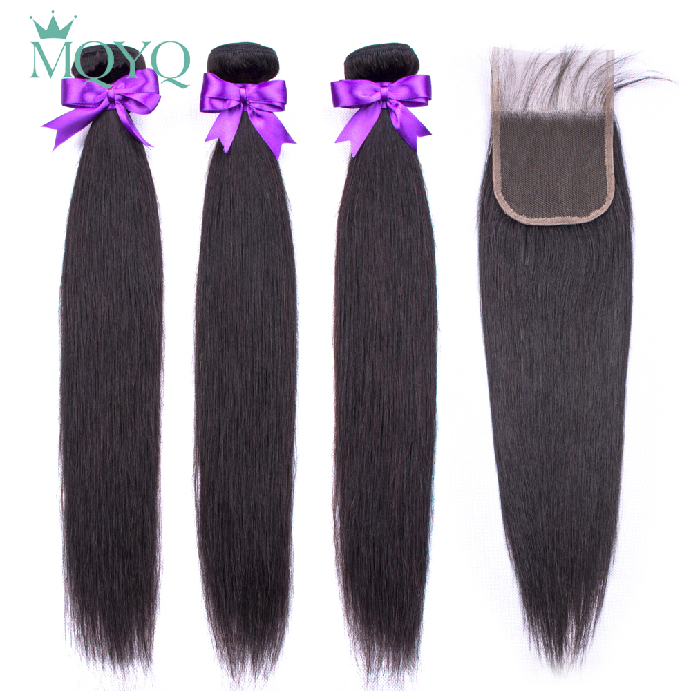 MQYQ Human Hair Straight Hair Bundles With Closure Brazilian Hair Weave Bundles With Lace Closure Non Remy Hair Extensions