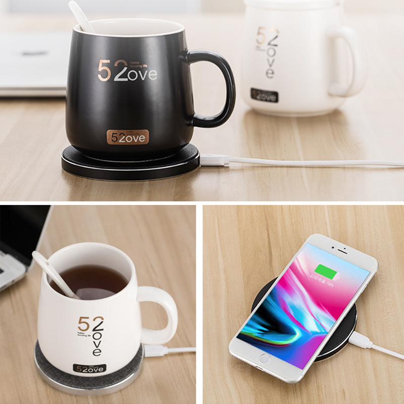 Coffee cup heater QC wireless charger 55 degree Celsius constant temperature cafe  warmer wereless thermostat