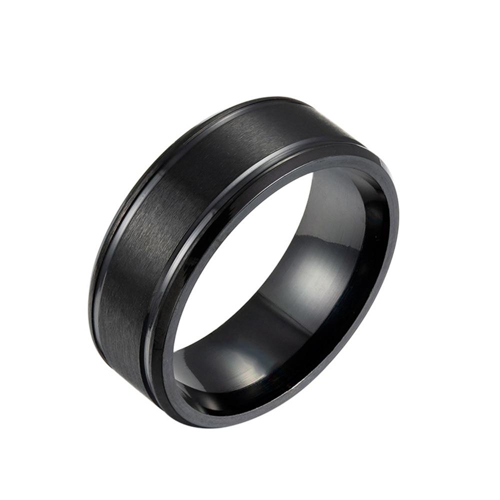 Loredana 8 мм черные и белые золотые три цвета одноцветные матовые двойные конические мужские кольца из нержавеющей стали для мужчин