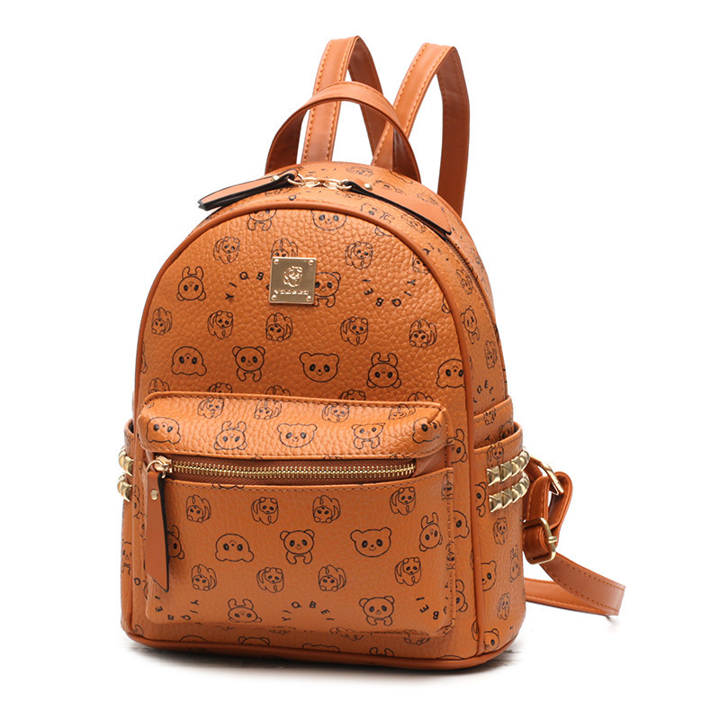Fashion Teenage Girl Mini Backpack Printing Leather Travel Bags Preppy Style Women Back Bag Mochila Feminina Black/ Brown/Coffee