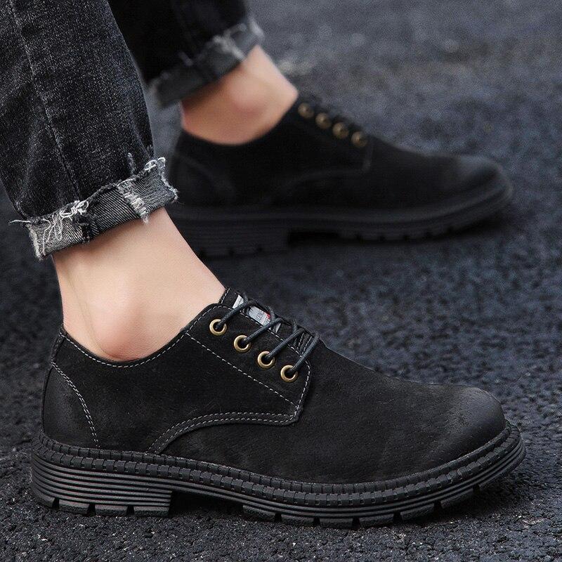 Зимние ботинки повседневная обувь из флока Мужская модная весенняя Мужская обувь удобная летняя мужская обувь на плоской подошве, большие размеры 38-47% 7118