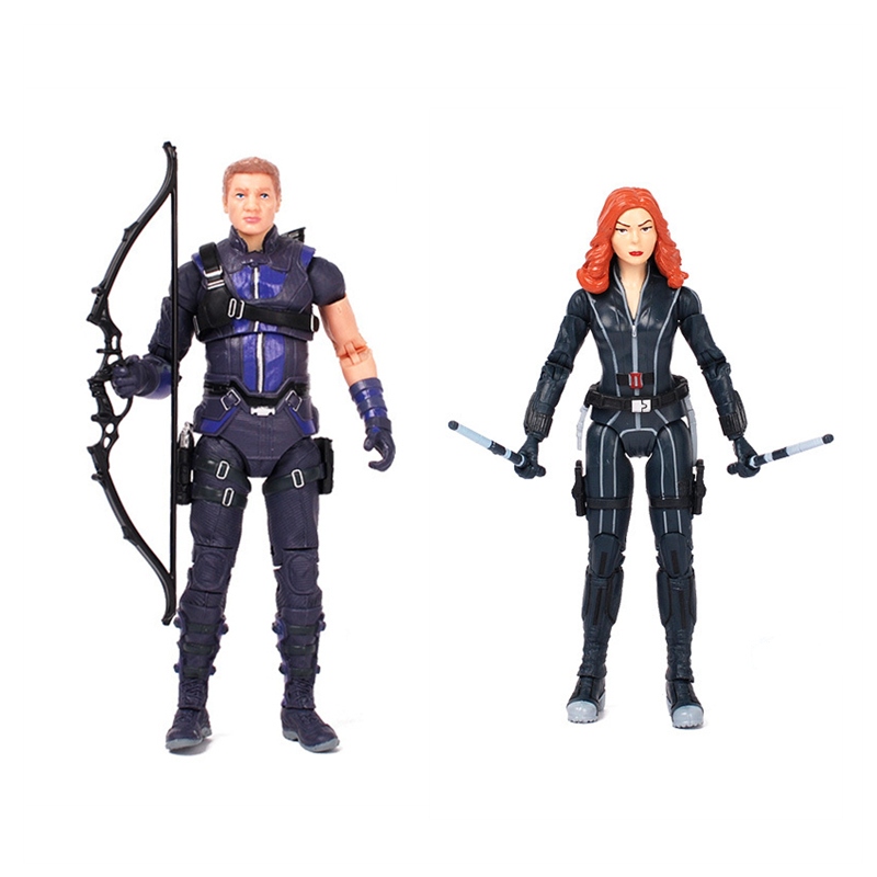 2pcs/set Anime Marvel Avengers Super Hero Hawkeye Black Widow Kits PVC Collectible Action Figure Model Toys