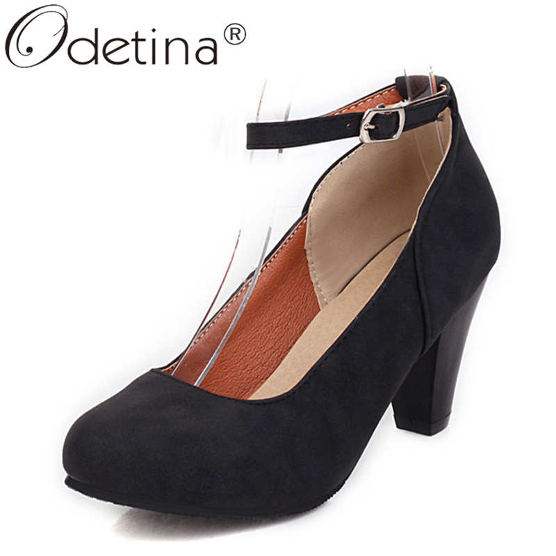 Odetina Women Fashion Block High Heel Concise Mary Janes Shoes Female Office Lady Faux Suede Round Toe Buckle Strap Dress Shoes