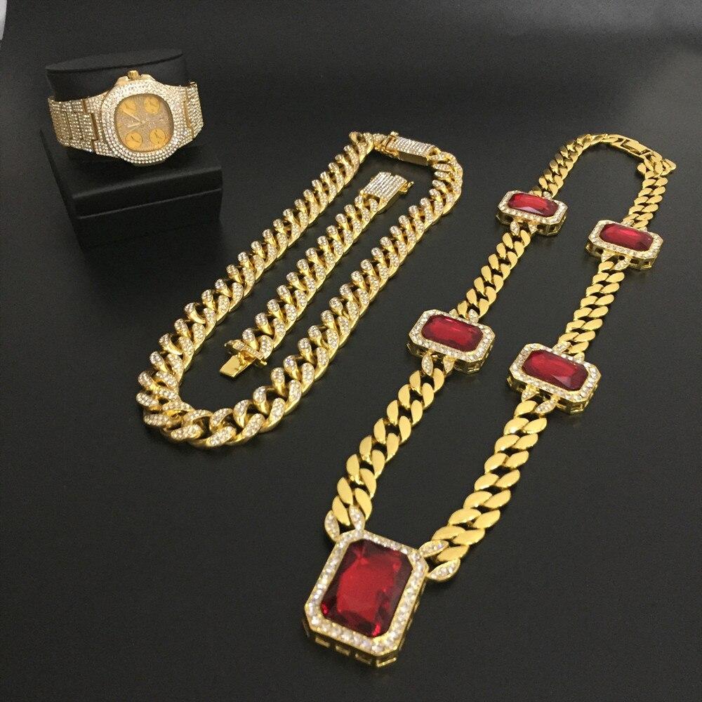Luxe or hommes montre hip-hop colliers ensemble de bijoux montre & collier & Bracelet ice out cubain hommes bijoux ensemble nouveau