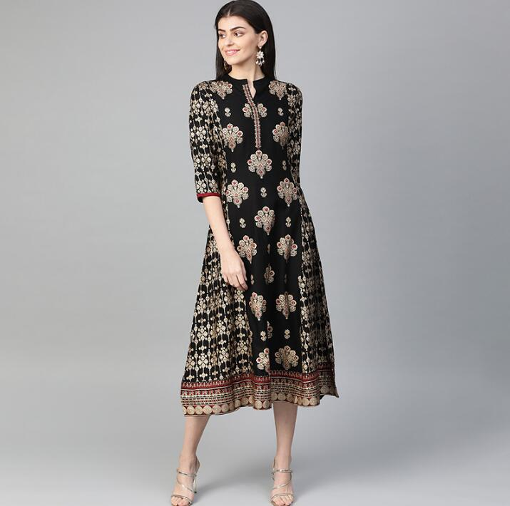 2020 New India Fashion Woman Ethnic Styles Foil Print Dress Cotton India Elegent Lady Black Dress