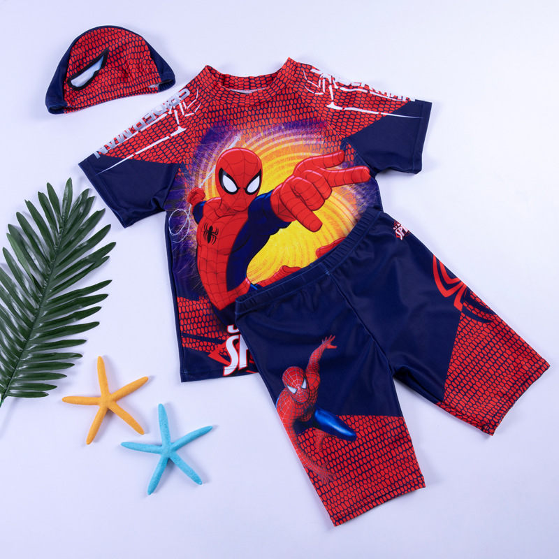 New Style KID'S Swimwear BOY'S Children Two-piece Swimsuits Swimwear Cartoon Modeling Spider-Man Sun-resistant Bathing Suit