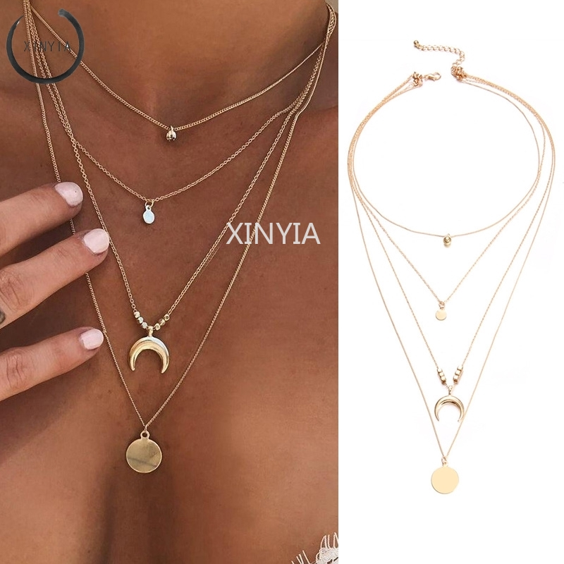 Multi-Layer Chain Necklace with Round Crescent Pendant for Women Accessories Girlfriend Gift