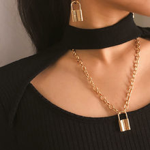 1Pcs 2019 Fashion Punk Jewelry Gold Silver Color PadLock Pendant Necklace Stainless Steel Rolo Cable Chain Necklace Gifts(China)