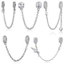WOSTU تمهيد إلهام سلسلة أمان 100% 925 فضة Charm صالح سوار الأصلي DIY بها بنفسك أساور للمرأة مجوهرات الأزياء
