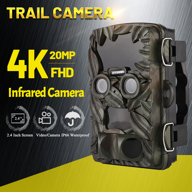 Trail Camera 20MP 4K Starlight Night Vision Dual-Lens IP66 Motion Activate 0.2s Trigger Hunting Camera Outdoor Wildlife Scouting