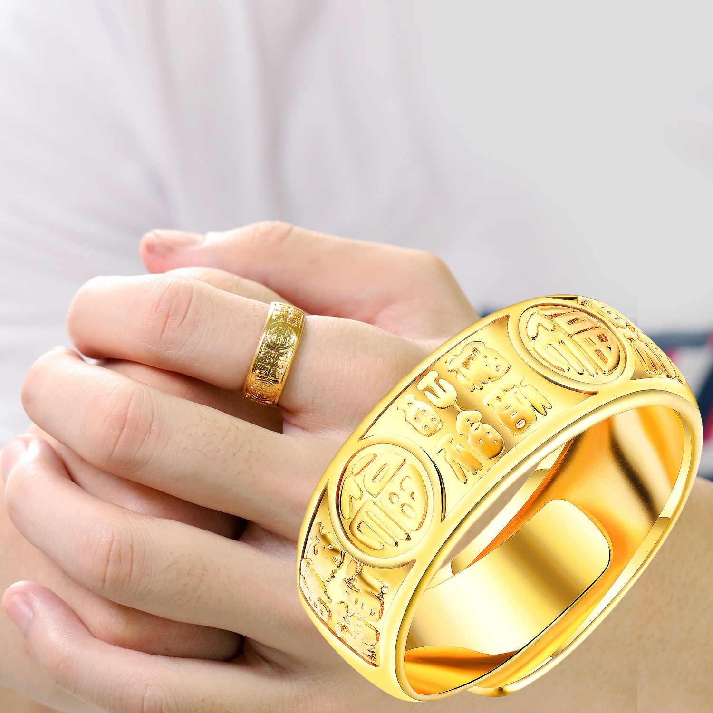 Opk acessórios do falso viet nam alluvial ouro fortuna impresso palavras ajustável anel-estilo glorioso furudonghai anéis masculinos