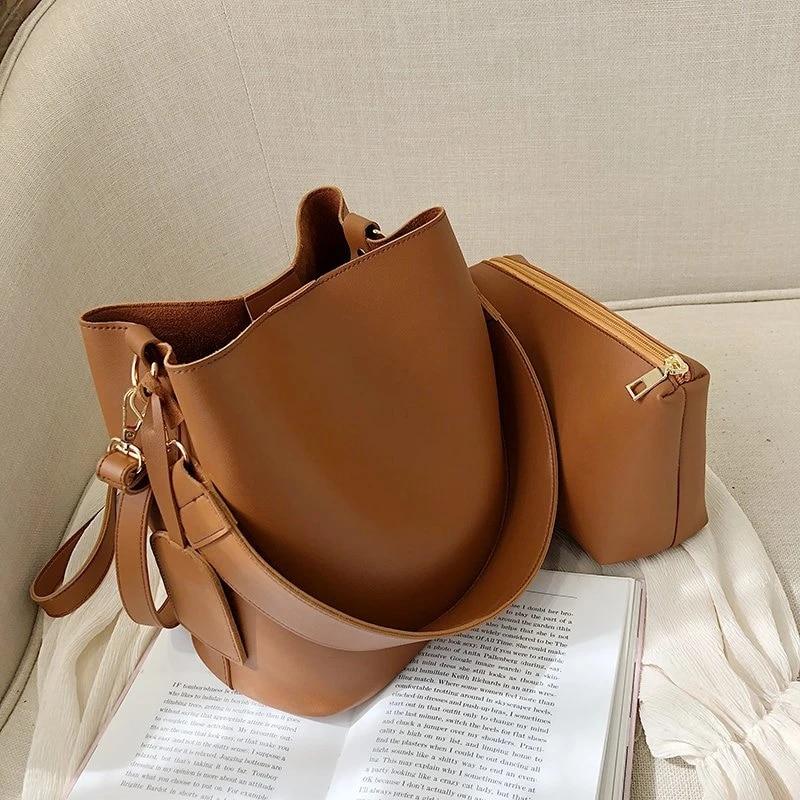 2 peças/set moda designer de couro do plutônio bolsas femininas bom casual senhoras tote feminino balde preto bolsa ombro crossbody