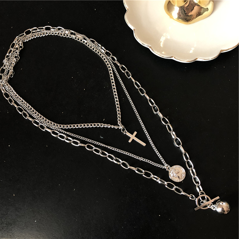 KMVEXO 2020 New Trendy Metal Ball Coin Cross Pendant Multi-layer Punk Hip Hop Long Chain Necklace For Women men Jewelry Gifts