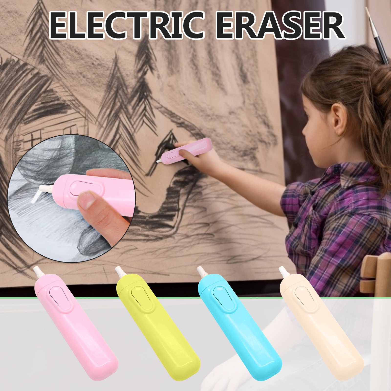 Sketch Highlight Electric Eraser Children's Drawing Writing Electric Eraser Battery Operated Eraser Electric Erase 19.2x18x2cm