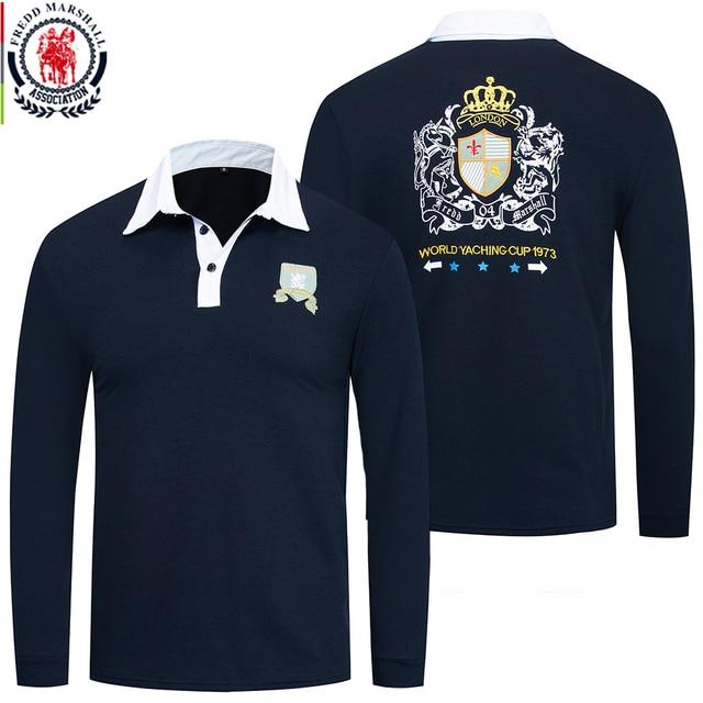 Fredd Marshall 2019 Autumn New Long Sleeve Polo Shirt Men Fashion Embroidered Polo Shirt 100% Cotton Casual Print Polos Tops 063