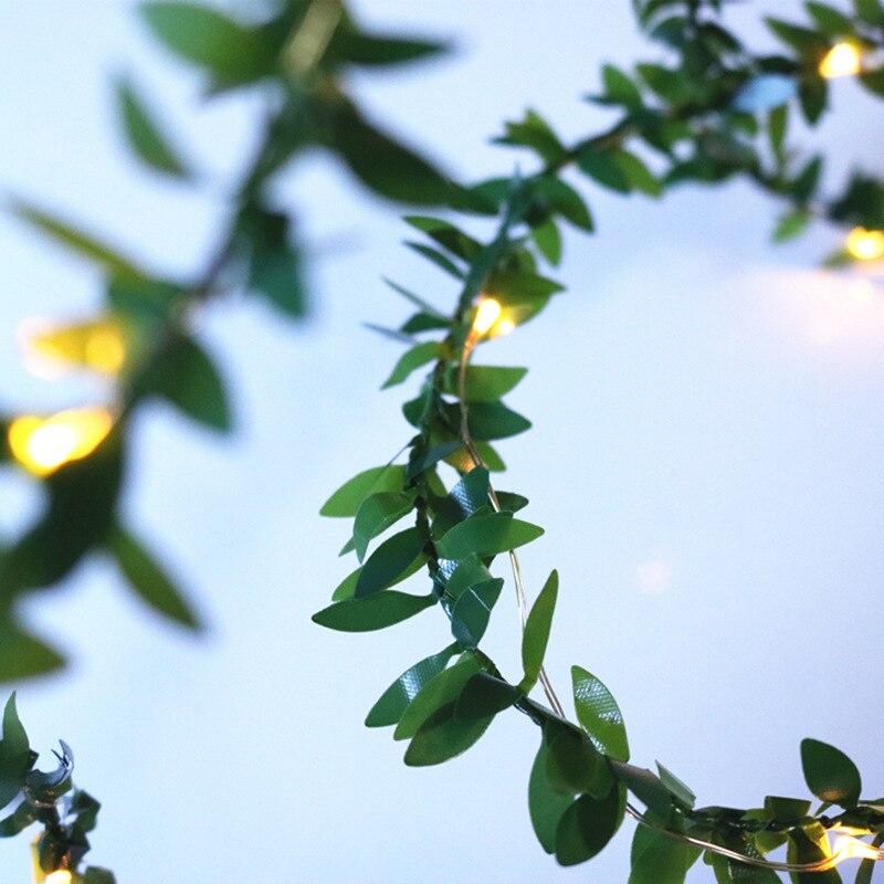 Имитация зеленые листья ротанга светильник гирлянда Рождественское украшение гирлянда Серийный светодиодный светильник s декорированный