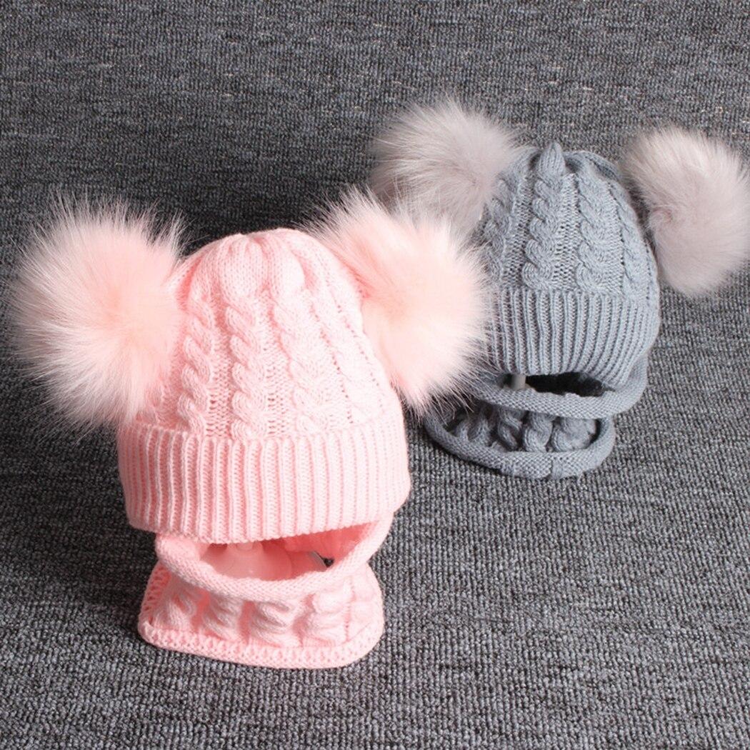Boys Girls Winter Faux Raccoon Fur Pom Pom Caps Double Pompom Hat Scarf Set Beanie Children Warm Knitted Hats Baby Kids Ski Cap