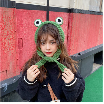 Frog Hat Beanies Knitted Winter Hat Solid Hip-hop Skullies Knitted Hat Cap Warm Winter Lovely Xmas Costume Accessories Gifts 2020 high quality frog hat beanies knitted winter hat solid hip hop skullies knitted hat cap gifts warm winter lovely christmas