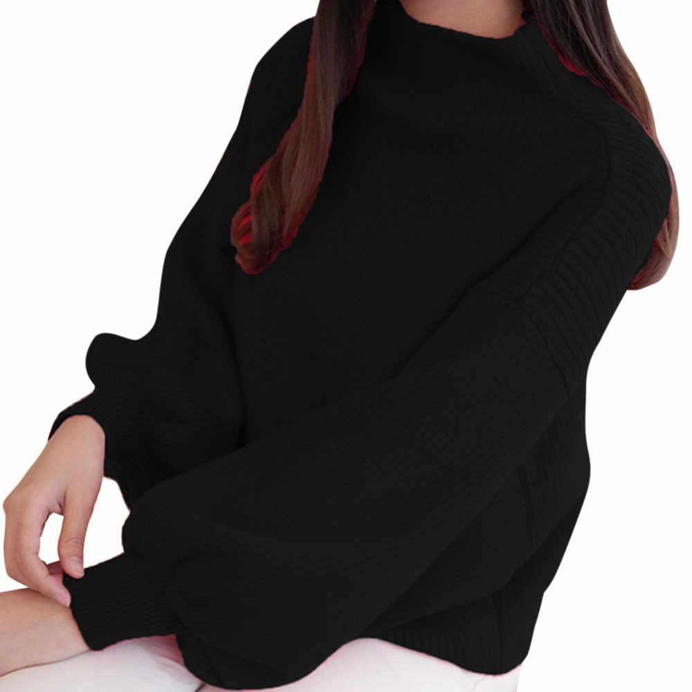 Hiver femmes chandails mode rouge blanc col roulé lanterne manches pulls en vrac tricoté chandails femme pull hauts 2019