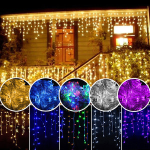 5M Christmas Lights Garland LED Curtain Icicle String Light 220V Droop 0.4-0.6m Street Garland Garden Stage Outdoor Fairy Lights