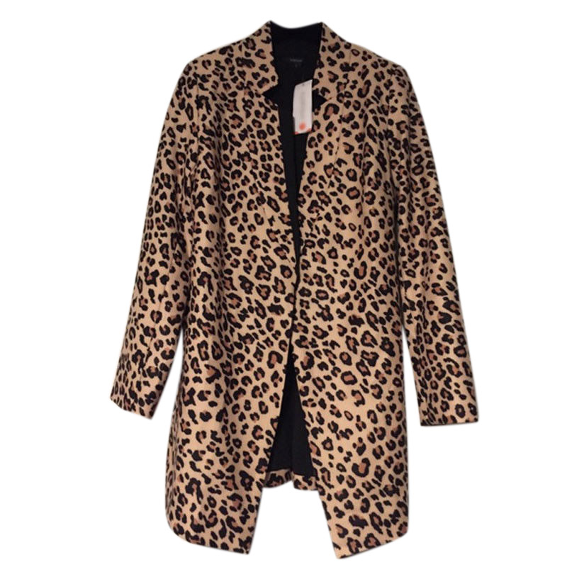 Fashion New Straight Coat Stand Collar Collar Long-sleeved Leopard Print Loose Blazers XXL Top