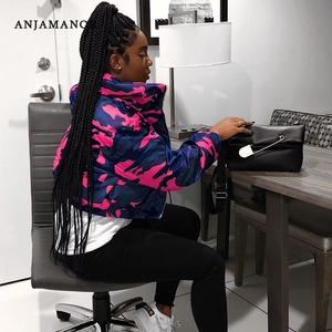 ANJAMANOR Camouflage Print Winter Puffer Jacket Women Zip Up Cropped Bubble Coat 2020 Fashion Parkas Plus Size Clothing D30-FC48