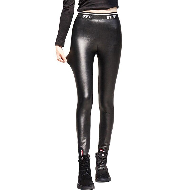 2019 Autumn Winter Womens Fashion Letters Knit Waist Shiny Leather Leggings Slim Elastic Warm PU Leather Pencil Pants