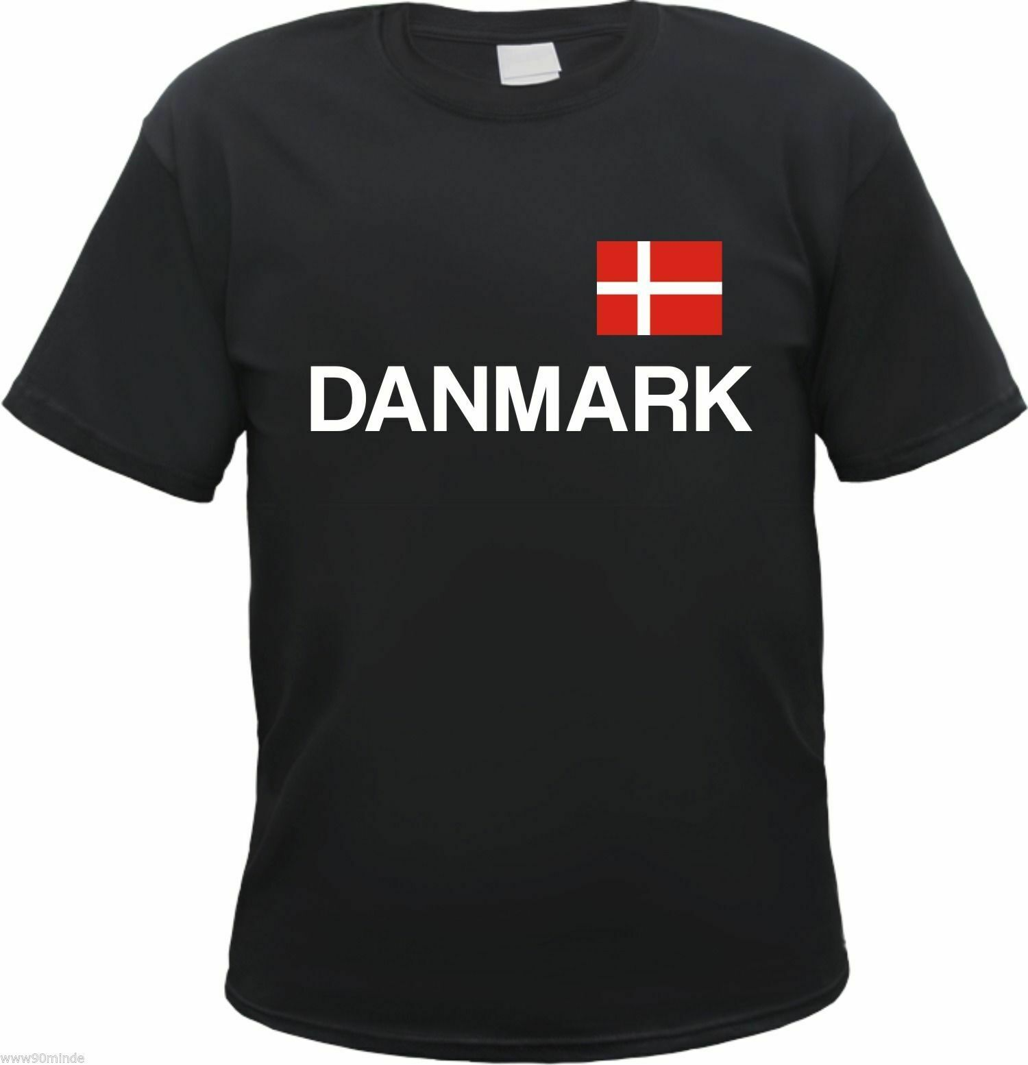 Danmark T-Shirt-Flag And Text Print-S To 3xl-Black-Denmark Holiday- Show Original Title