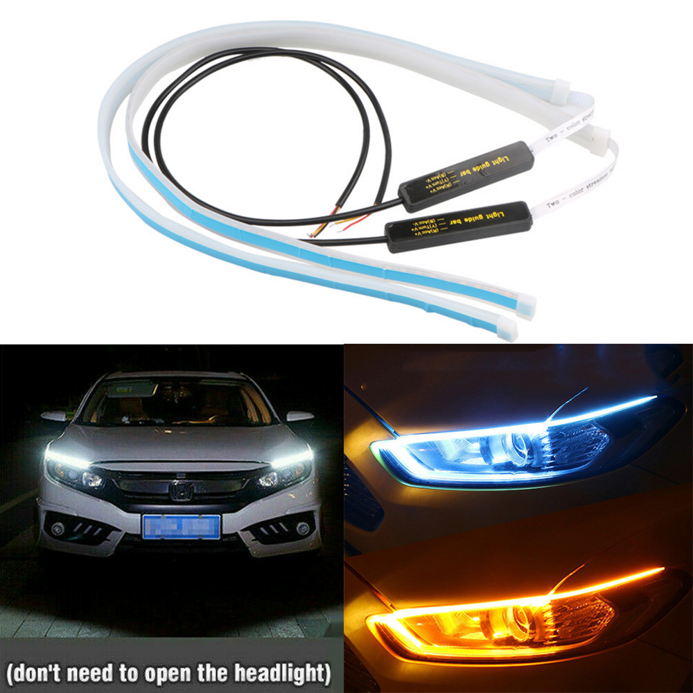 2pcs Ultrafine Cars DRL LED Daytime Running Lights Hite Turn Signal Yellow Flexible LED Strip Guide LED For Headlight Assembly