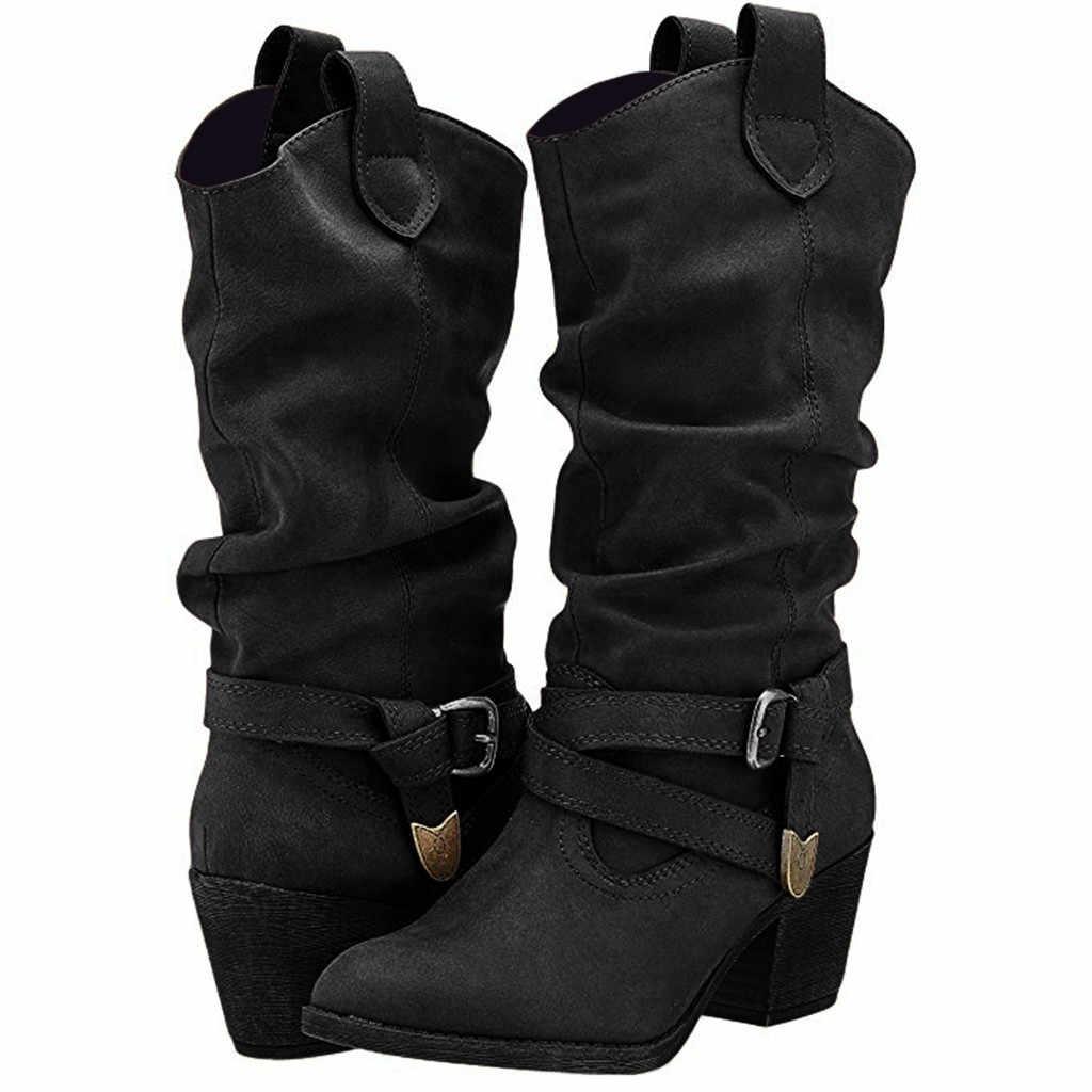 Lange Vrouwen Laarzen Effen Kleur Leather Cross Strap Kniehoge Gesp Schoenen Vrouw Cowboy Lage hakken Slip- op Rijlaarzen Voor Dames
