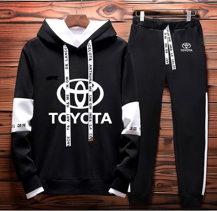 Hoodies Men Toyota Car Logo Printed Sweatshirt Fashion Men Hoodie Hip Hop Harajuku Casual Fleece Hoodies Pants Suit 2Pcs