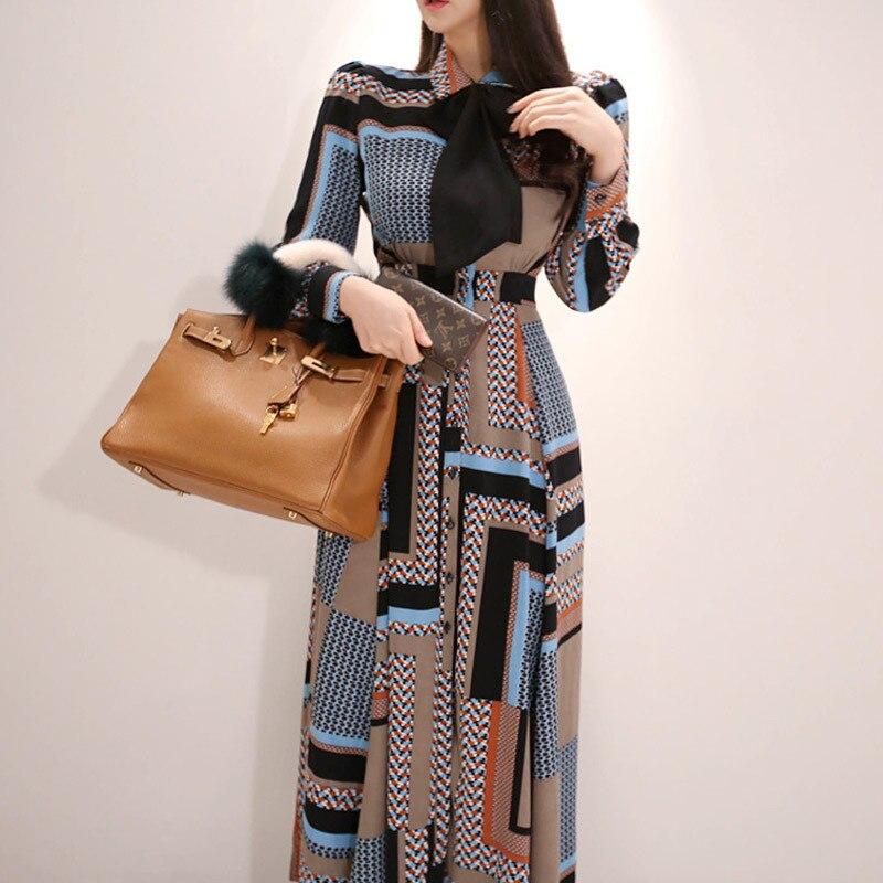 New Style Korean-style Long Dress, Elegant Bow Waist Hugging-Style Single-Breasted Large Hem Shirt Dress
