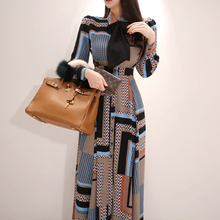 New Style Korean-style Long Dress, Elegant Bow Waist Hugging-Style Single-Breast