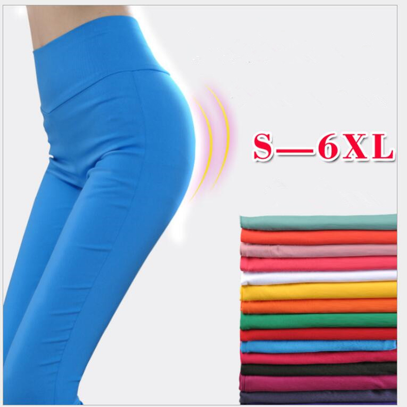 Shikoroleva Women Leggings Plus Size 5XL 6XL High Waist Stretch Candy Color Pink Blue Brown Red Sexy Pencil Pants Jeggings Lady