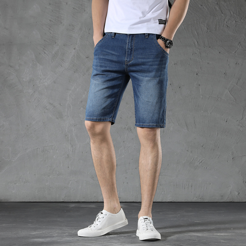 Loose And Plus-sized Denim Shorts MEN'S Clothing Fat European Version-Straight-Cut Cat Whisker 5 Short Casual In Pants