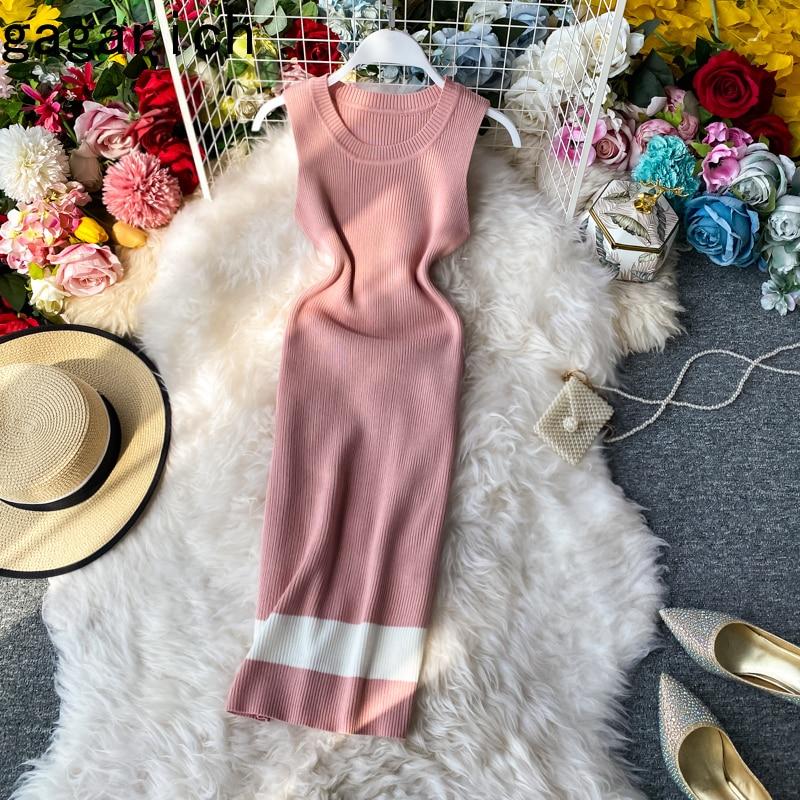 Женское трикотажное платье Gagarich, летнее облегающее платье без рукавов в Корейском стиле, новинка 2020|Платья|   | АлиЭкспресс
