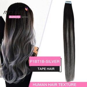 Image 2 - MRSHAIR Extensions de cheveux naturels à bandes ombrées, cheveux adhésifs Double face, non remy, 14 18 20 pouces, 20 pièces/ensemble
