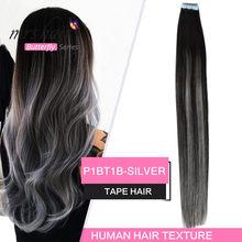 MRSHAIR – Extensions de cheveux naturels non-remy avec bande ombrée, 14, 18, 20 pouces, adhésif Double face