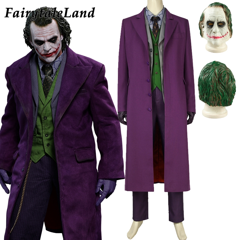 Batman Dark Knight Joker 6 pcs Gabardine Trench Coat Costume Cosplay Halloween