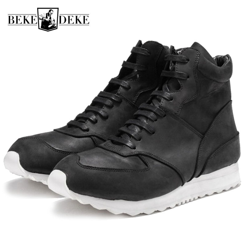 Designer Platform Sneakers Men Vintage Genuine Leather Zipper Casual High Top Shoes Leisure White Black Breathable Trainers Men