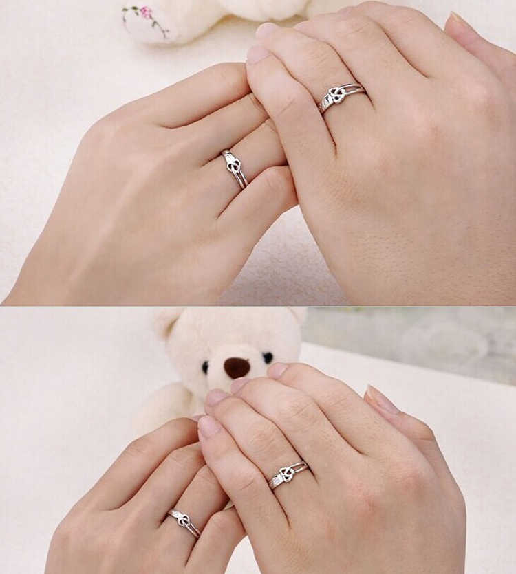 Silver Color Couple Ring Quality Stainless Steel Heart Alliance Ring For Women Men Size Adjustable Gift For Lover Drop Shipping