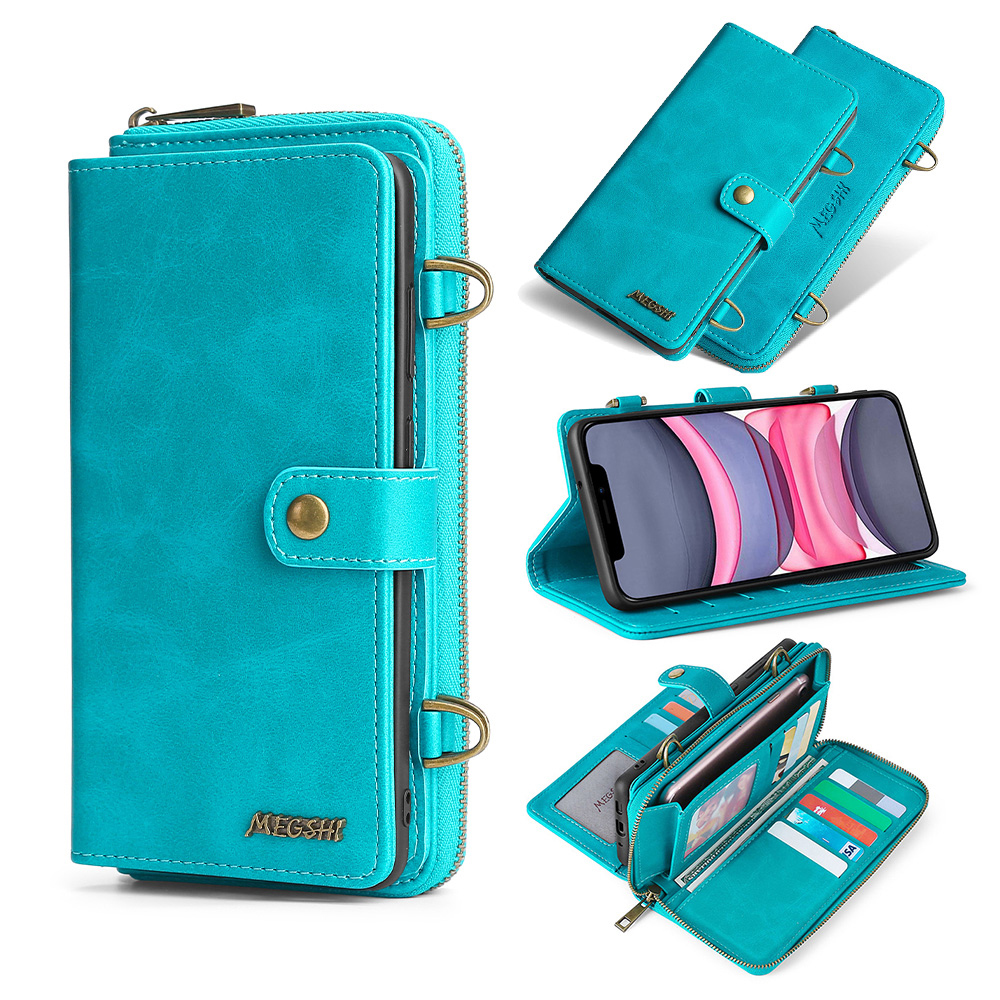 MEGSHI-020 Detachable wallet backpack Strong adsorption Leather Phone Case for iPhone 6 6S 7 8 Plus X XS XR XSMax 11 12 Pro Max