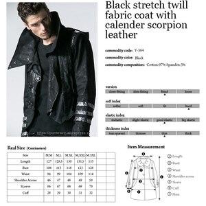 Image 5 - Мужская длинная куртка с капюшоном, черная Длинная регулируемая куртка в готическом стиле, ветровка в стиле панк