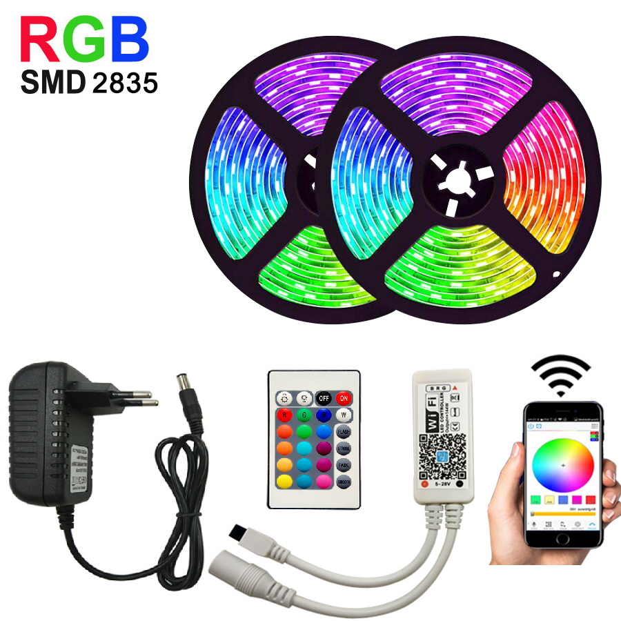 Waterproof RGB Led Strip 2835 5M 10M 15M LED String DC12V Fiexble Light Led Ribbon Tape LED String Lights Tape Holiday Lighting