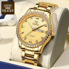 Olevs marca masculino relógios de negócios relógio de quartzo homem aço inoxidável 30m à prova dwaterproof água data ouro relógios de pulso dos homens relogio masculino