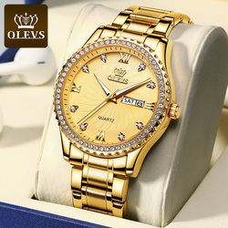OLEVS Brand Men's Watches Business Quartz Watch Men Stainless Steel 30M Waterproof Gold Date Wristwatches Mens Relogio Masculino