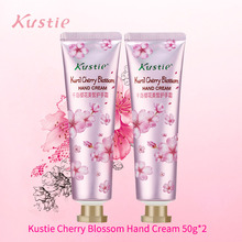 Kustie Cherry Moisturizing Hand Cream Flower Essence Lotion Anti Chapping Without Chemical Oil Autumn Winter Hand Lotion 50g*2