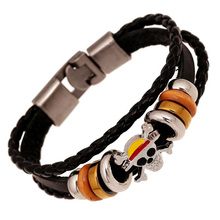 Creative skull beaded bracelet braided leather bracelet for men in charm adjustable Jewellery for women punk vintage cuff bangle ubeauty punk adjustable double buckles rivets studded cuff bangle genuine cow leather bracelet men
