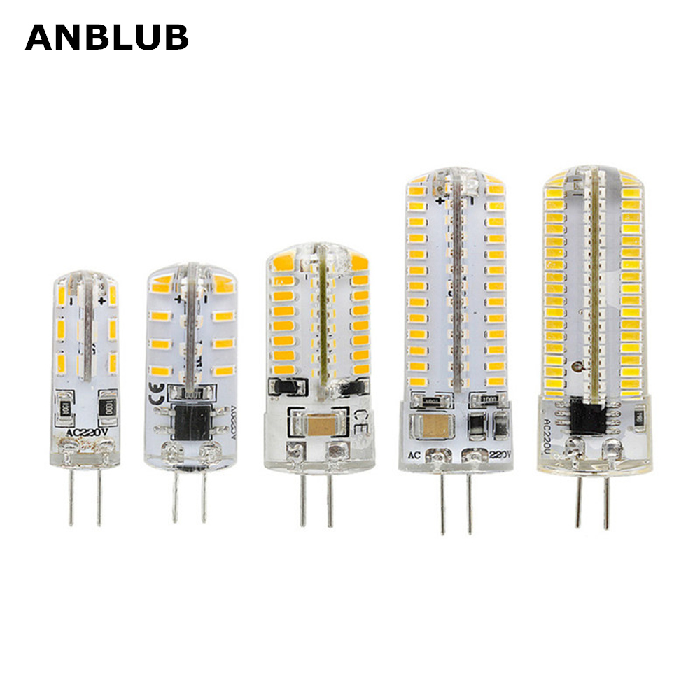 ANBLUB 3W 4W 5W 6W 9W SMD3014 G4 LED Lamp DC 12V/ AC 220V Silicone Bulb 24/32/48/64/104 LEDs Replace 10W 30W 50W Halogen Light