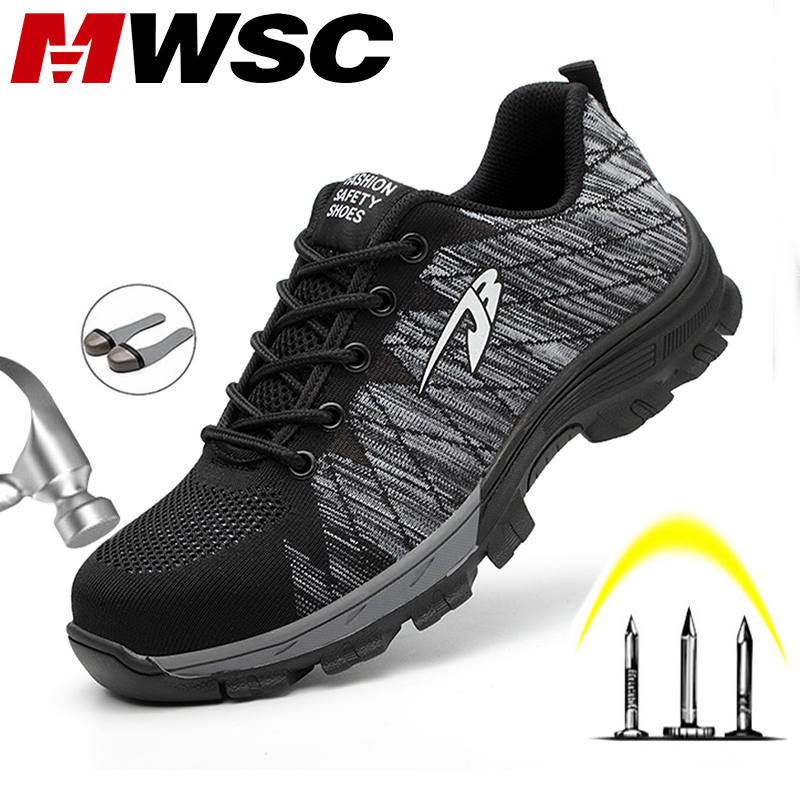 MWSC Men Safety Shoes Boots Breathable Work Shoes For Men Protective Steel Toe Cap Boots Work Indestructible Construction Shoes